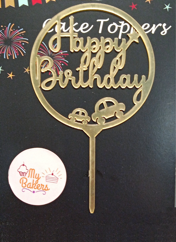 Happy Birthday Cars In Circle Golden Acrylic Topper 5 inch Pack of 1