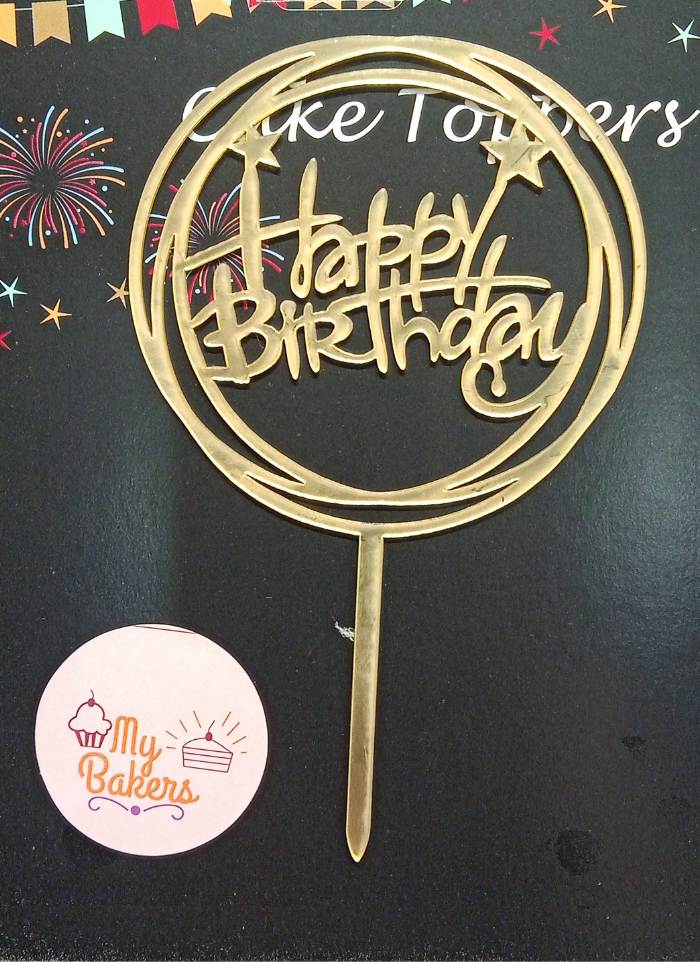 Happy Birthday Circle Gold Mirror Acrylic Topper 5 inch Pack of 1