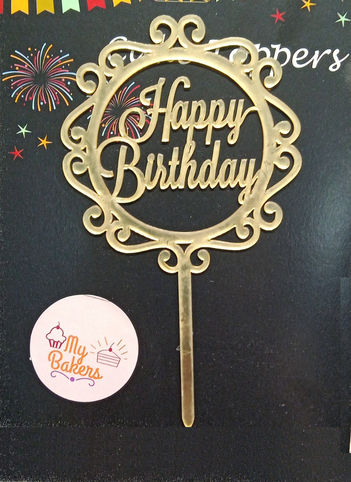 Happy Birthday Design Circle Gold Mirror Acrylic Topper 5 inch Pack of 1
