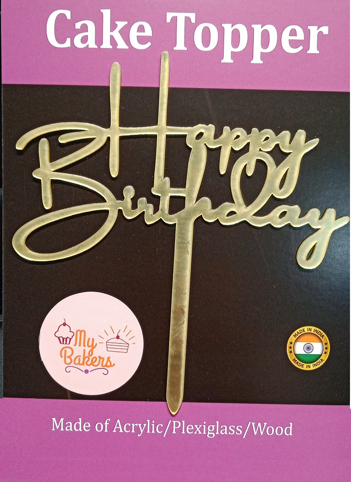 Happy Birthday Gold Mirror Acrylic Topper 6 inch Pack of 1