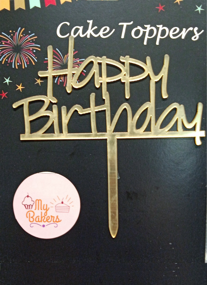 Happy Birthday Golden Acrylic Topper 5 inch Pack of 1
