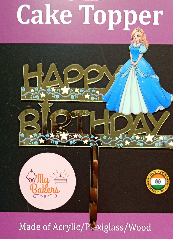 Happy Birthday Princess Golden Acrylic Topper 6 inch Pack of 1