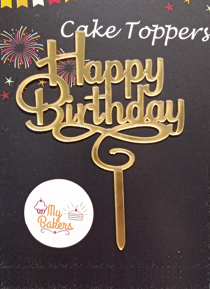Happy Birthday Ribbon Design Gold Mirror Acrylic Topper 5 inch Pack of 1