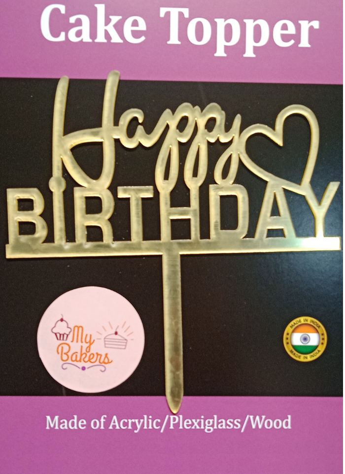 Happy Birthday Side Heart Golden Acrylic Topper 6 inch Pack of 1