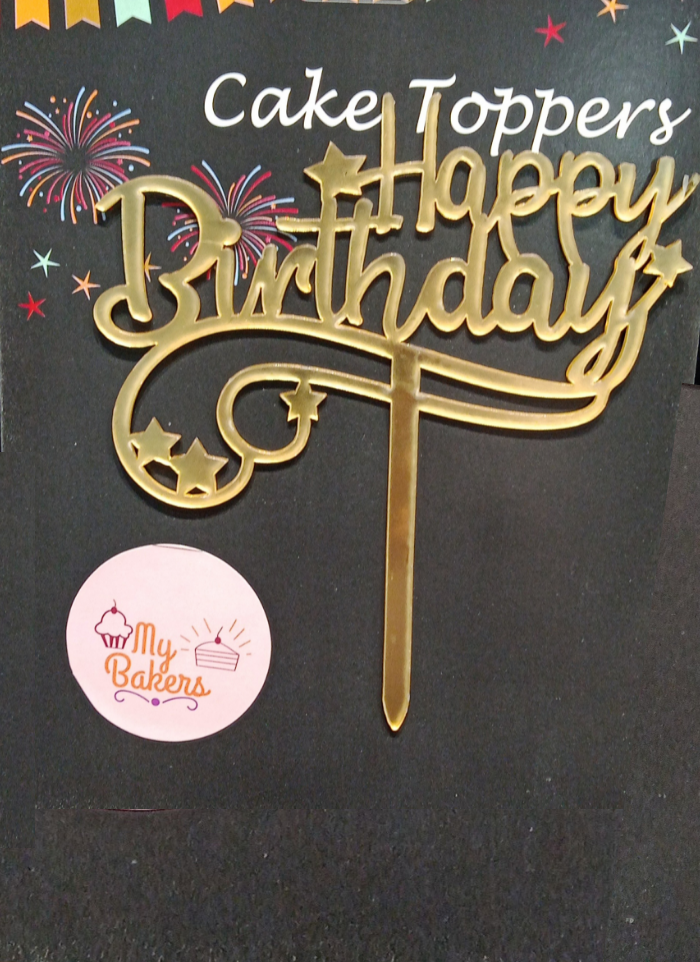 Happy Birthday Star Design Golden Acrylic Topper 5 inch Pack of 1