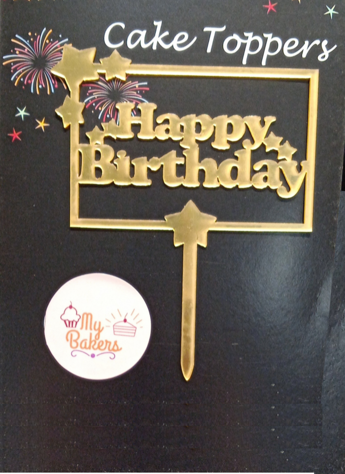 Happy Birthday Star Frame Golden Acrylic Topper 5 inch Pack of 1