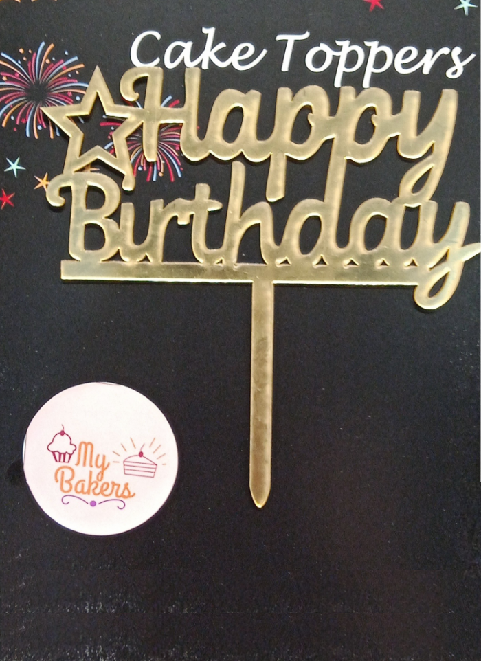 Happy Birthday Star Gold Mirror Acrylic Topper 5 inch Pack of 1