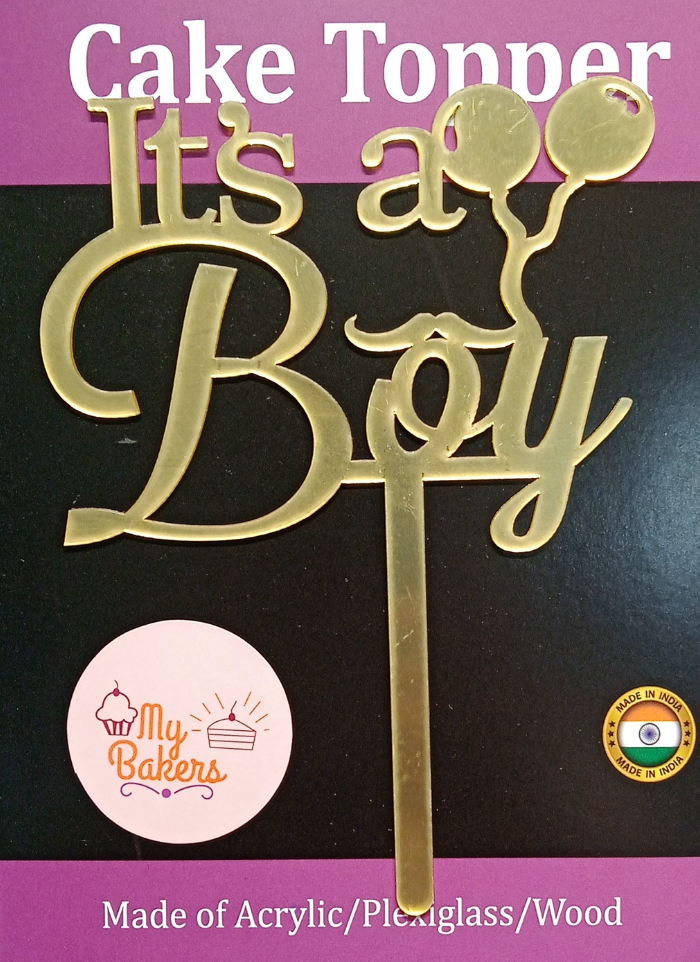 Its a Boy Gold Mirror Acrylic Topper 6 inch Pack of 1