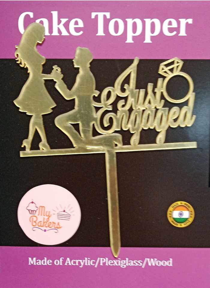 Just Engaged Couple Ring Gold Mirror Acrylic Topper 6 inch Pack of 1