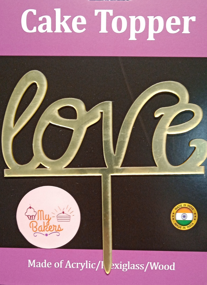 Love Gold Mirror Acrylic Topper 6 inch Pack of 1