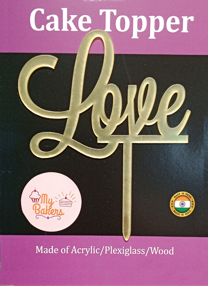 Love Golden Acrylic Topper 6 inch Pack of 1