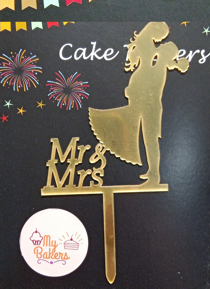 Mr And Mrs Couple Gold Mirror Acrylic Topper 5 inch Pack of 1