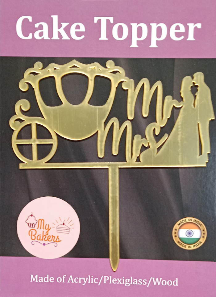 Mr And Mrs Royal Palki Golden Acrylic Topper 6 inch Pack of 1