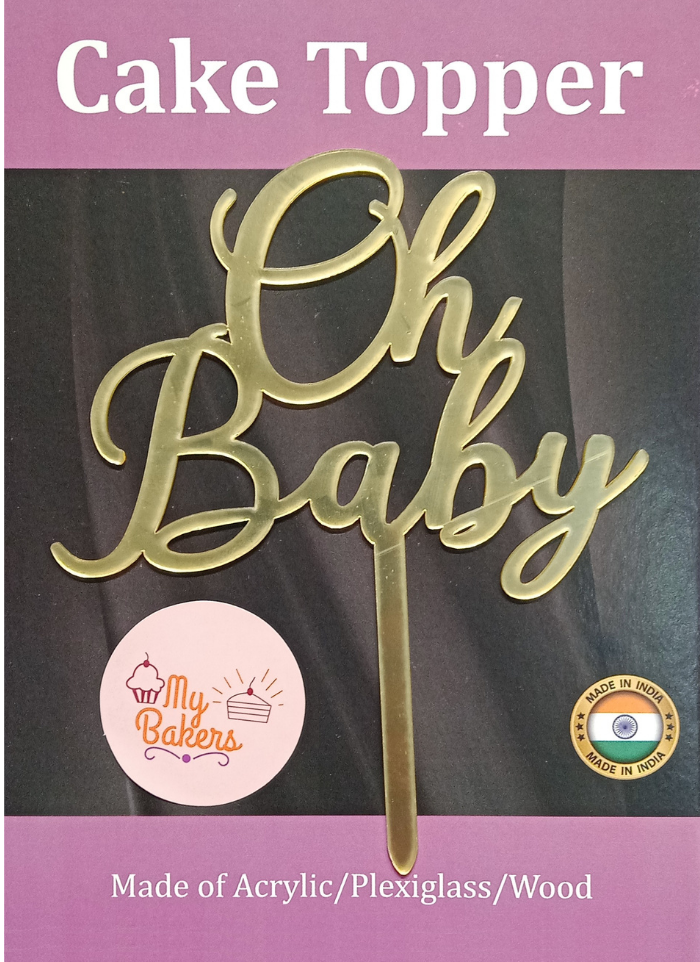 Oh Baby Golden Acrylic Topper 6 inch Pack of 1