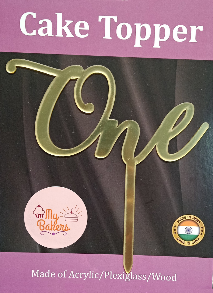 One Golden Acrylic Topper 6 inch Pack of 1