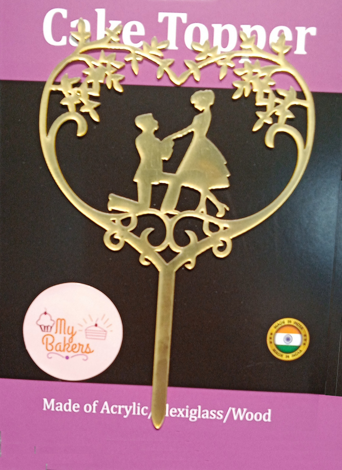 Proposal Heart Frame Gold Mirror Acrylic Topper 6 inch Pack of 1