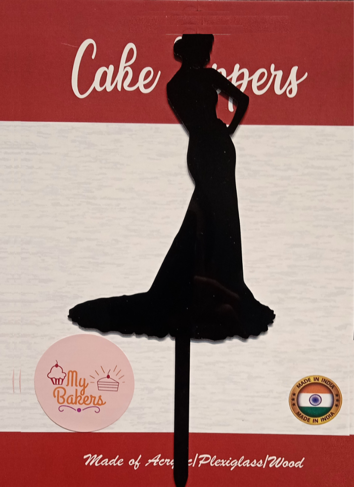 Silhouette Lady Black Acrylic Topper 6 inch Pack of 1