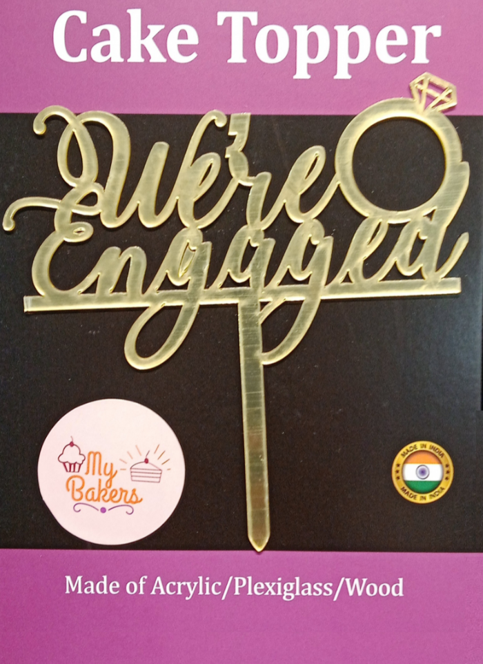 We Are Engaged Gold Mirror Acrylic Topper 6 inch Pack of 1