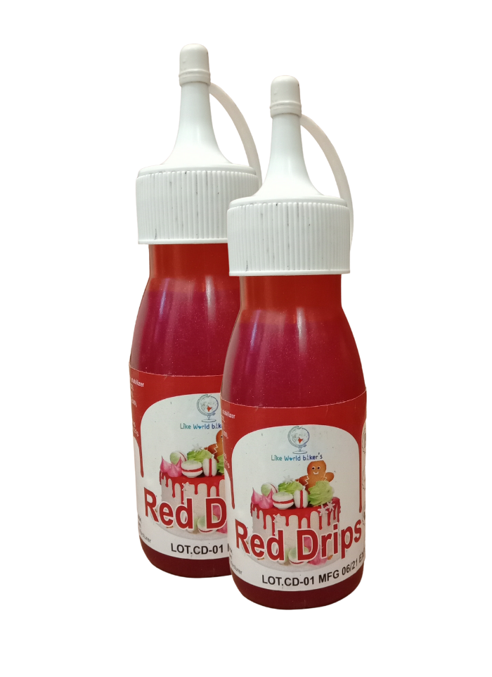 Cake Drips Color Red pack of 2