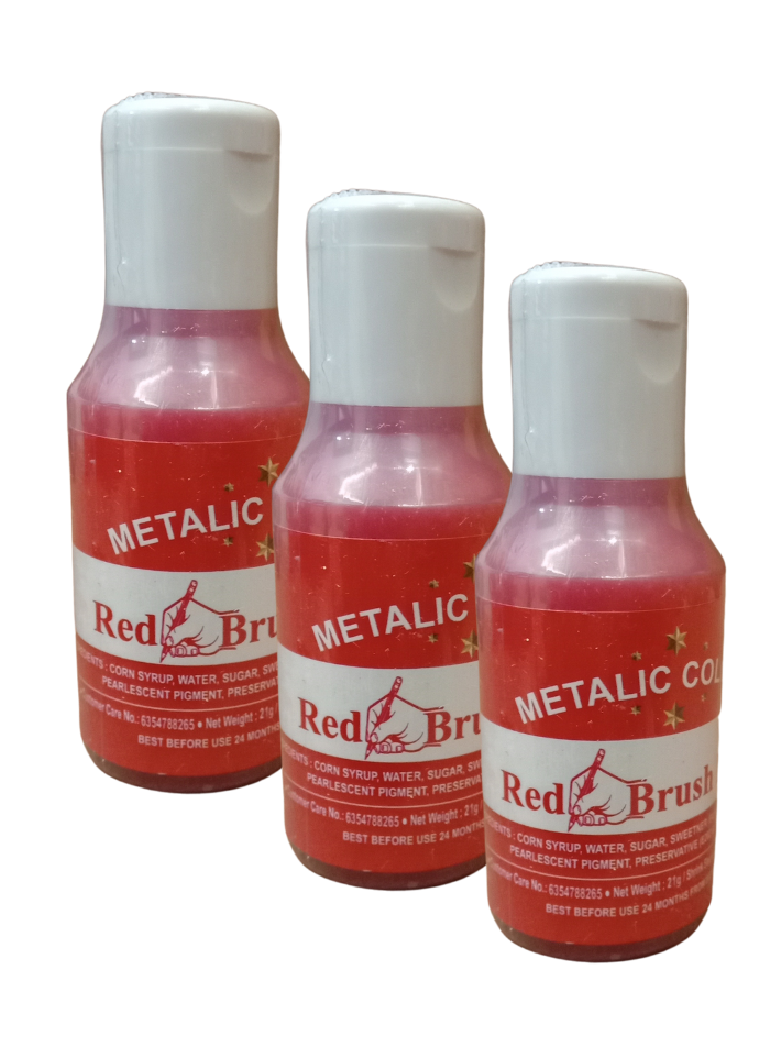 Metallic Food Color Red Brush Paint pack of 3