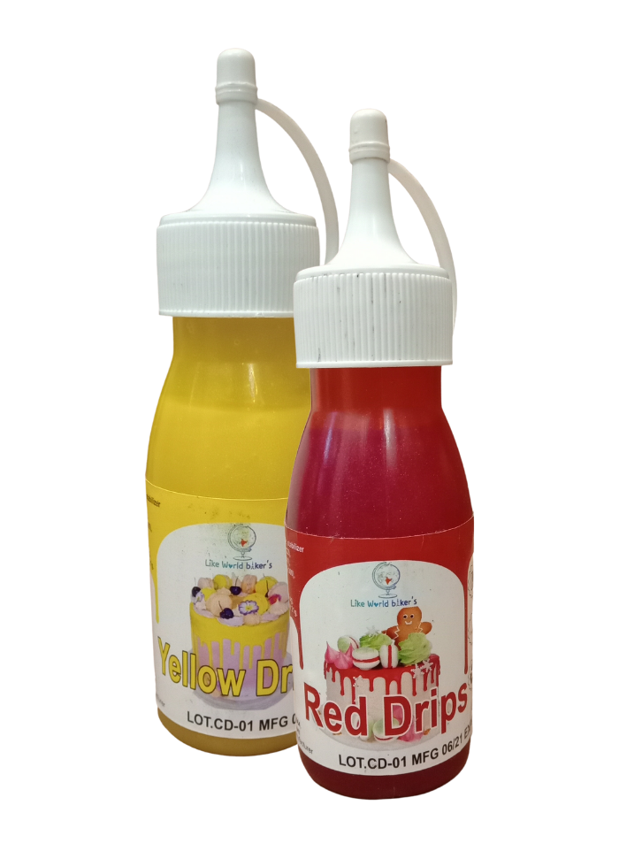 Cake Drips Color Red Yellow pack of 2
