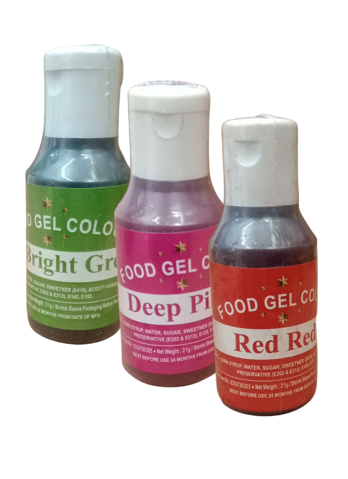Food Gel Color Red Red Deep Pink Neon Bright Green pack of 3
