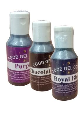 Food Gel Color Royal Blue Chocolate Brown Purple pack of 3