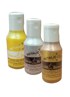 Metallic Food Color Gold Silver Yellow Brush Paint pack of 3