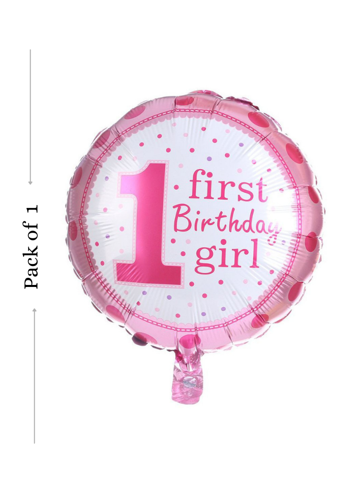 1st Happy birthday girl round foil Pink dot balloon 18 inch pack of 1