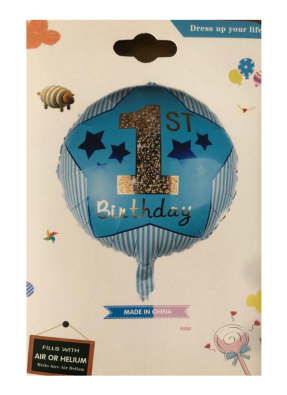 1st Happy birthday round foil Blue printed balloon 18 inch pack of 1