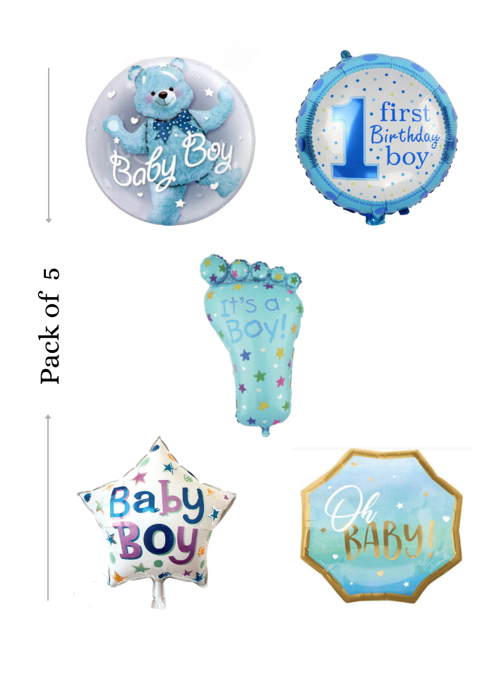 Baby boy foil balloon 5 pieces pack of 1