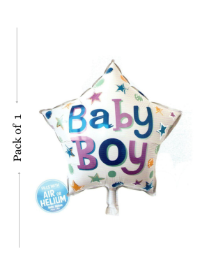 Baby boy Star shape foil balloon 18 inch pack of 1
