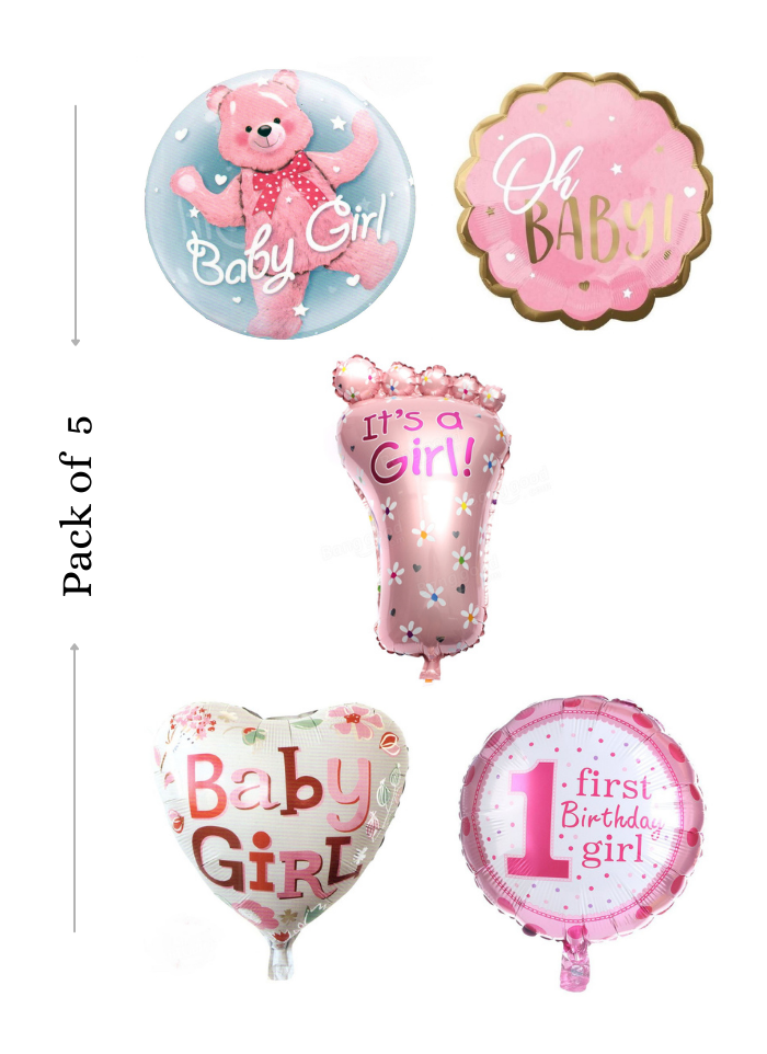 Baby girl foil balloon 5 pieces pack of 1