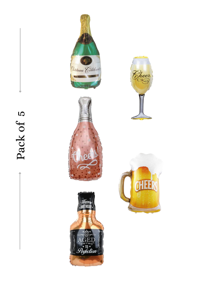Beer Glass Champange Glass and Bottle 5 pieces foil balloon pack of 1