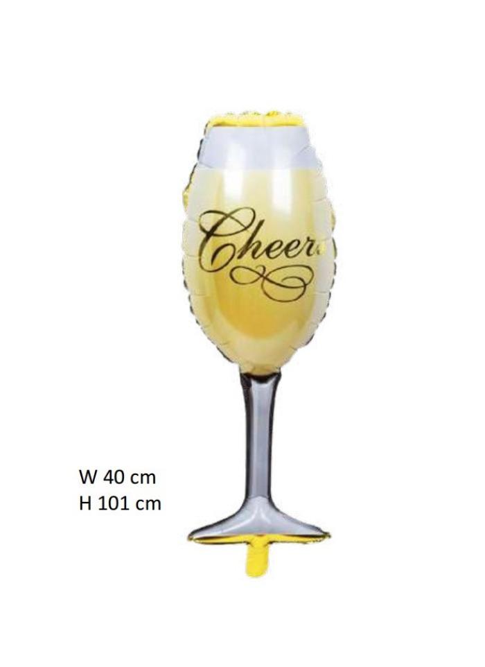 Champange glass foil balloon pack of 1