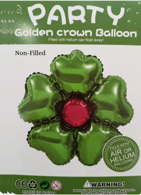 Five Hearts With Stone Foil Balloon 18 inch Green