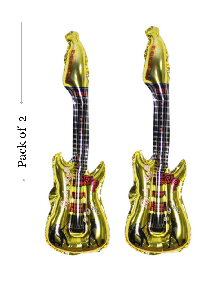 Guitar foil balloon Gold 18 inch pack of 2