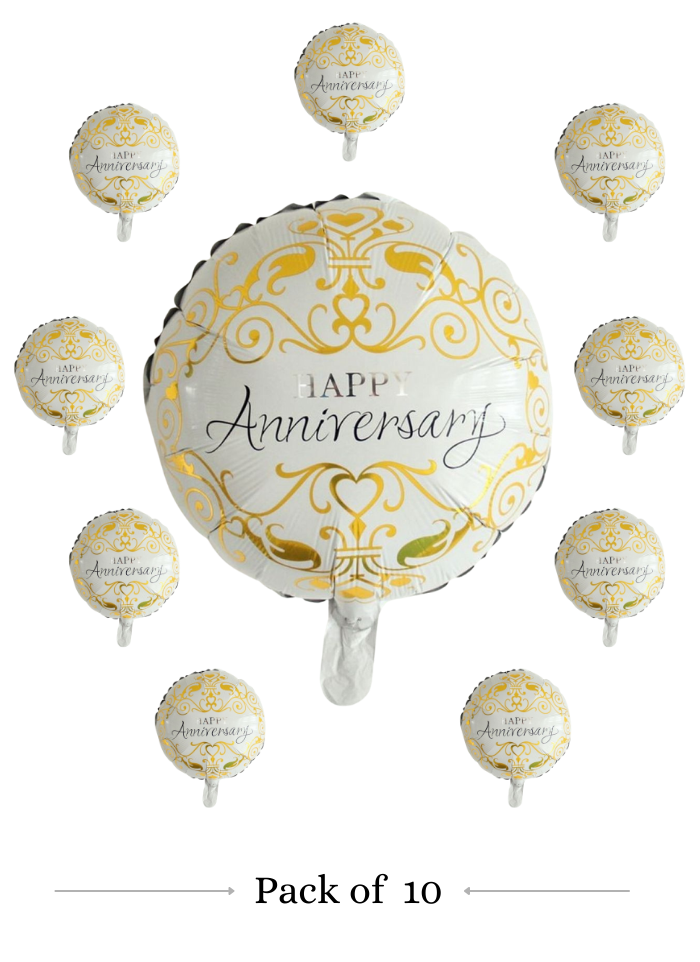 Happy Anniversary foil balloon 18 inch pack of 10