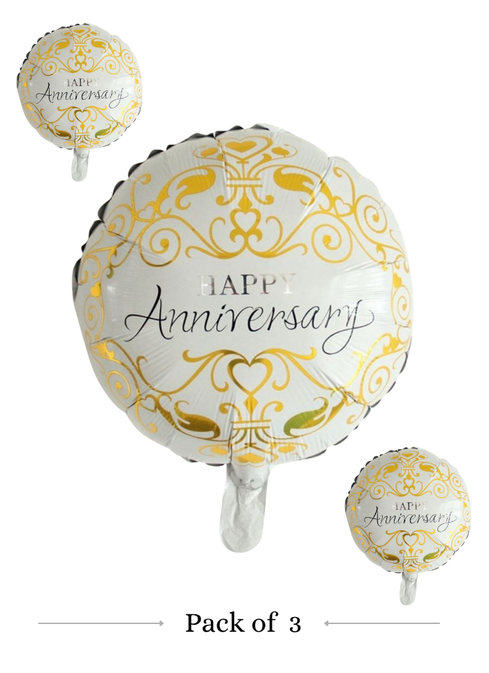 Happy Anniversary foil balloon 18 inch pack of 3