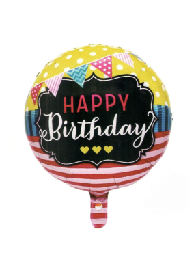Happy Birthday Bunting Strip round foil balloon 18 inch pack of 1