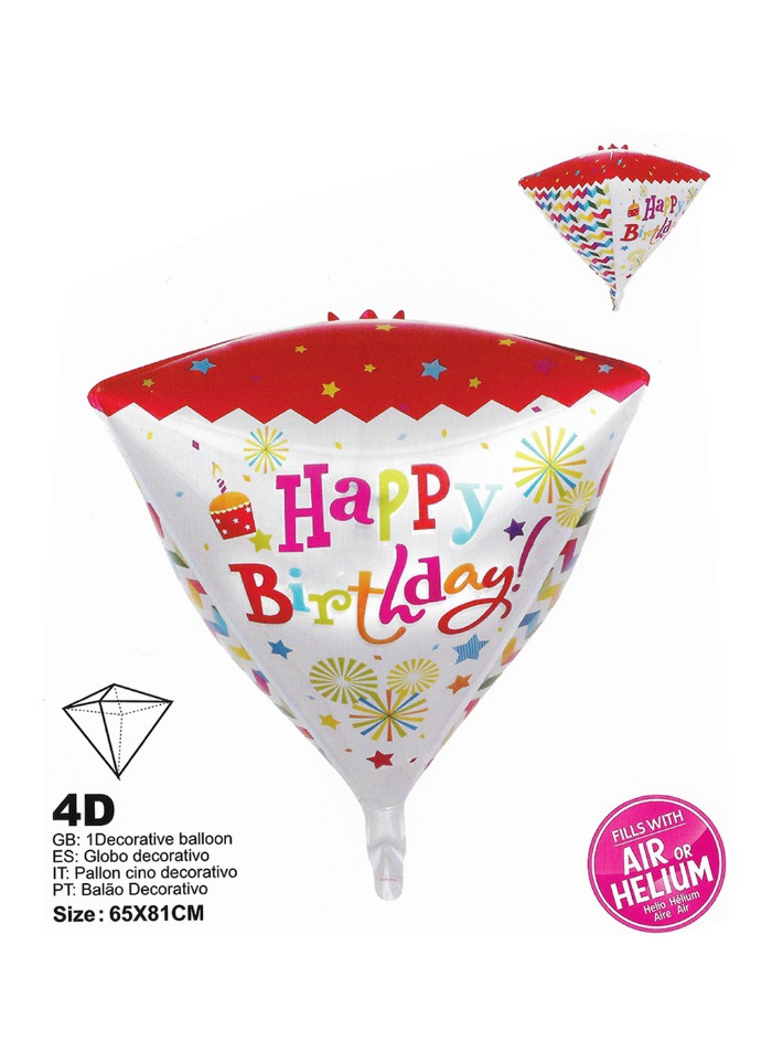 Happy birthday cone shape foil balloon pack of 1