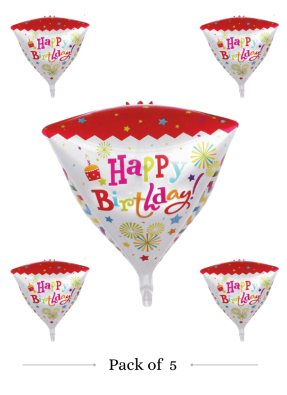Happy birthday cone shape foil balloon pack of 5