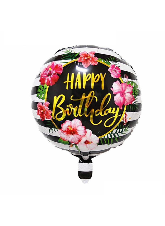 Happy birthday flower printed round foil balloon 18 inch pack of 1