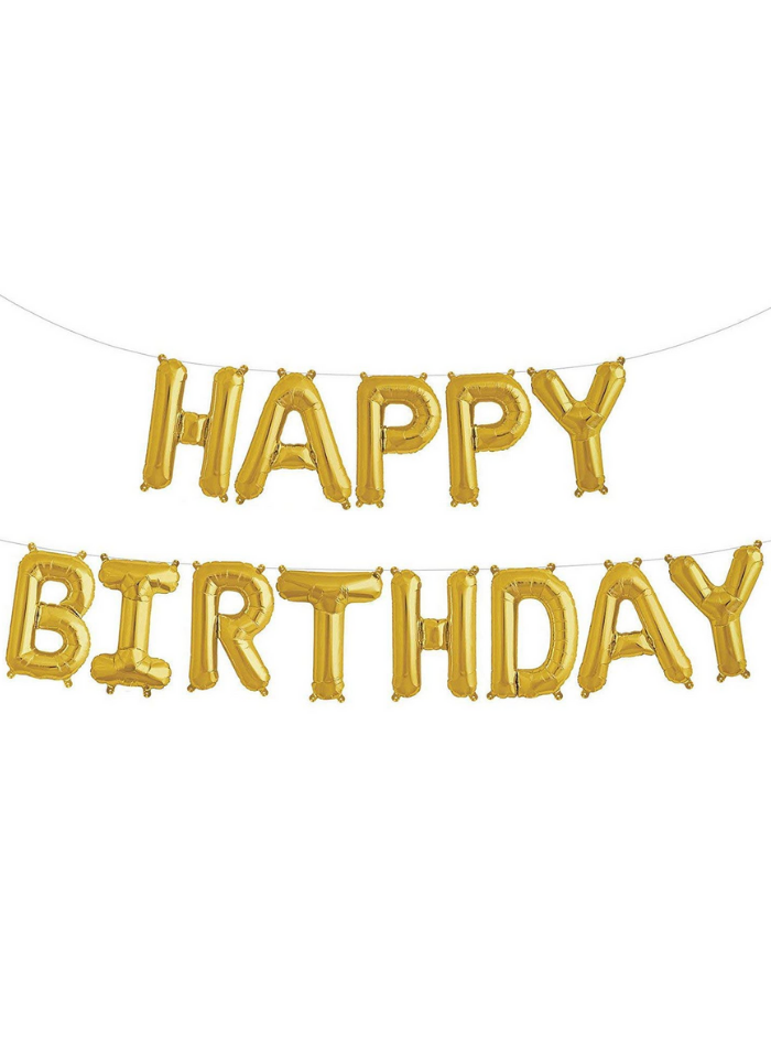 Happy Birthday Foil Balloon Set of all letters Gold pack of 1