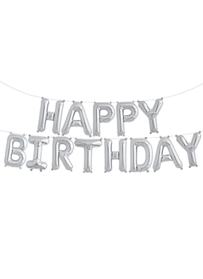 Happy Birthday Foil Balloon Set of all letters Silver pack of 1
