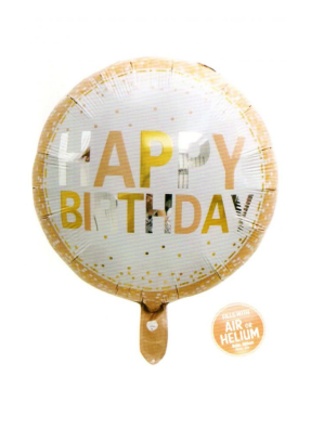 Happy Birthday Gold Border round foil balloon 18 inch pack of 1