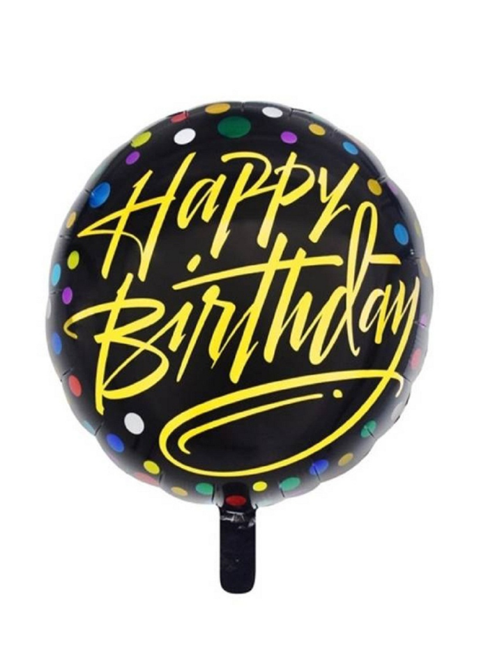 Happy birthday Gold Script round foil balloon 18 inch pack of 1