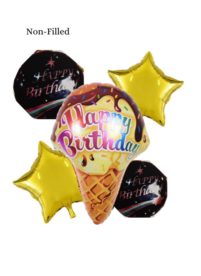 Happy Birthday Ice Cream Cone 5 Piece Set Foil Balloon Assorted