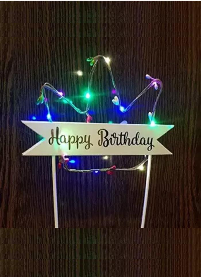 Happy Birthday LED Crown Shape Cake Topper Multi