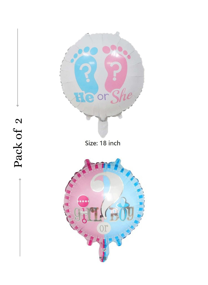 He or she / Boy or Girl foil balloon 18 inch pack of 1
